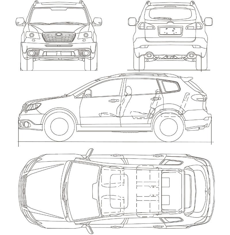 Coches de escena Subaru Tribeca plano